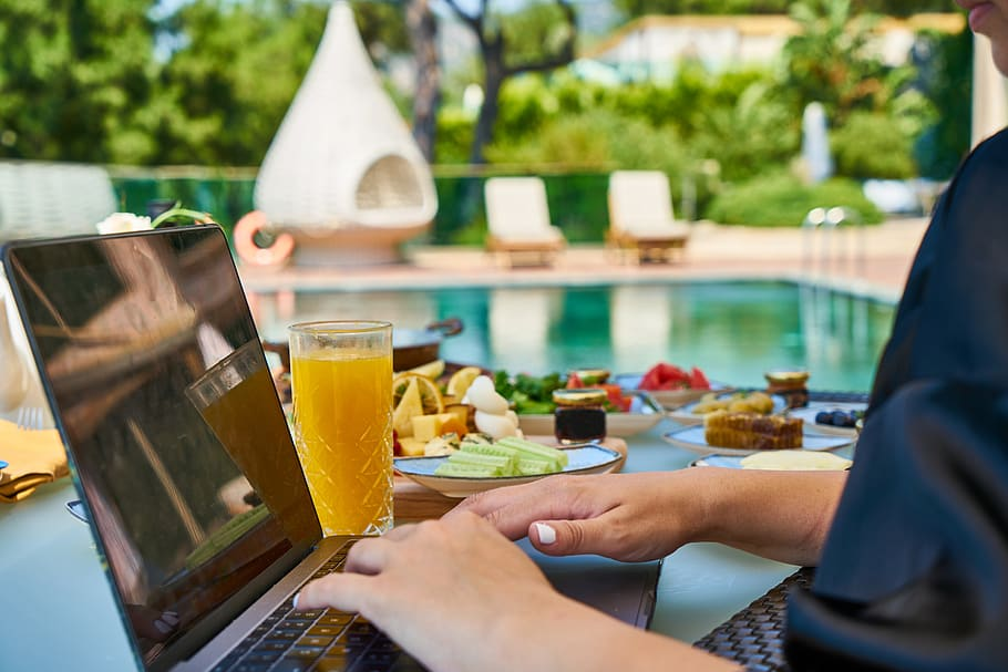 Laptop Break Breakfast Hotel